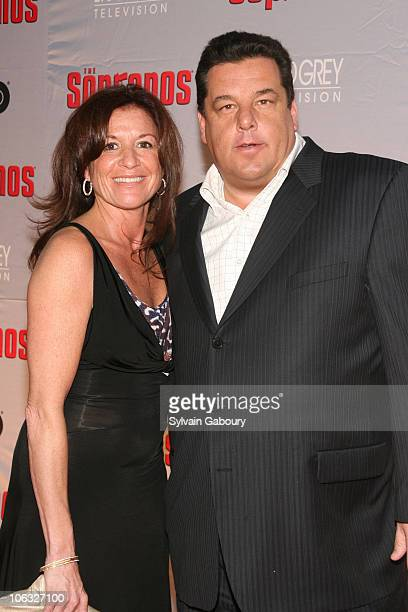 Steven R Schirripa right and guest during The Sopranos Final Season World Premiere Arrivals at Radio City Music Hall in New York City New York United...