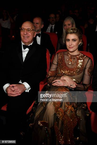 Steven Rales and Greta Gerwig are seen at the Opening Ceremony 'Isle of Dogs' premiere during the 68th Berlinale International Film Festival Berlin...