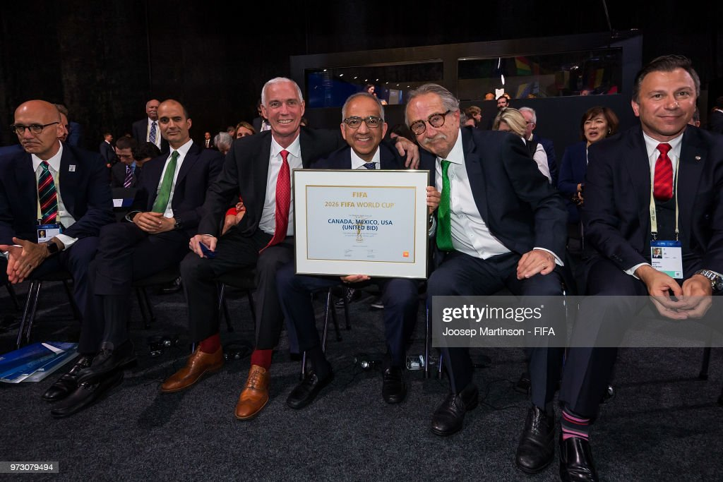 Steven Reed, Carlos Cordeiro and Decio De Maria pose during the 68th FIFA Congress at Expotsentr on June 13, 2018 in Moscow, Russia.