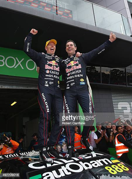 Steven Richards and Craig Lowndes of the Red Bull Racing Australia Holden celebrate after winning the Bathurst 1000 which is race 25 of the V8...