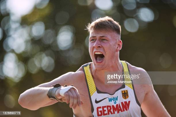 Steven Richter of Germany competes in the Men's Shot Put Final during European Athletics U20 Championships Day 1 at Kadriorg Stadium on July 15, 2021...