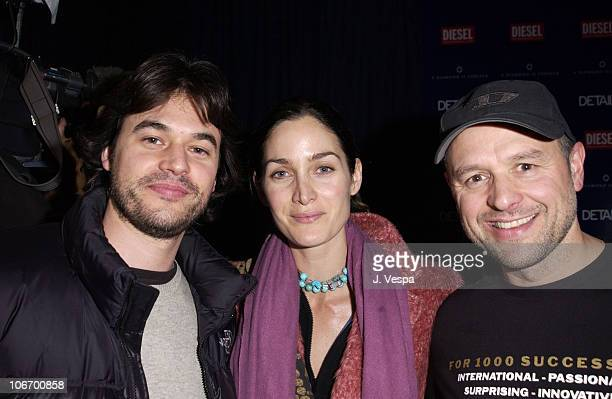 Steven Roy, Carrie-Anne Moss & Andreas Kurz during 2002 Sundance Film Festival - William Morris Party hosted by Diesel Jeans, A Diamond is Forever...