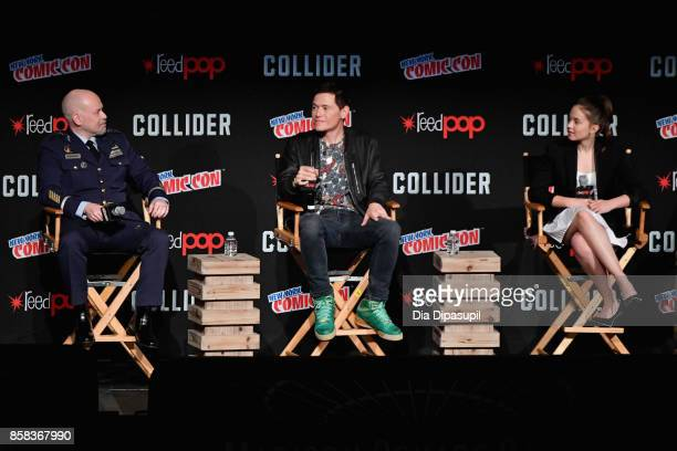 Steven S DeKnight Burn Gorman and Cailee Spaeny speak onstage during the 2017 New York Comic Con on October 6 2017 in New York City