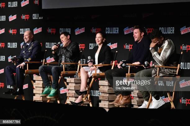 Steven S DeKnight Burn Gorman Cailee Spaeny Scott Eastwood and John Boyega speak onstage during the 2017 New York Comic Con on October 6 2017 in New...