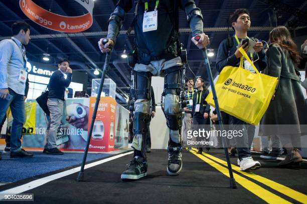 Steven Sanchez test pilot for US Bionics Inc's SuitX demonstrates the company's Phoenix exoskeleton during the 2018 Consumer Electronics Show in Las...
