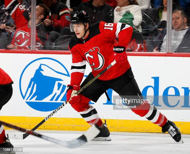 Steven Santini of the New Jersey Devils passes during an NHL hockey game against the Carolina Hurricanes on December 29 2018 at the Prudential Center...