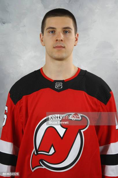Steven Santini of the New Jersey Devils poses for his official headshot of the 20172018 season on September 14 2017 at the Prudential Center in...