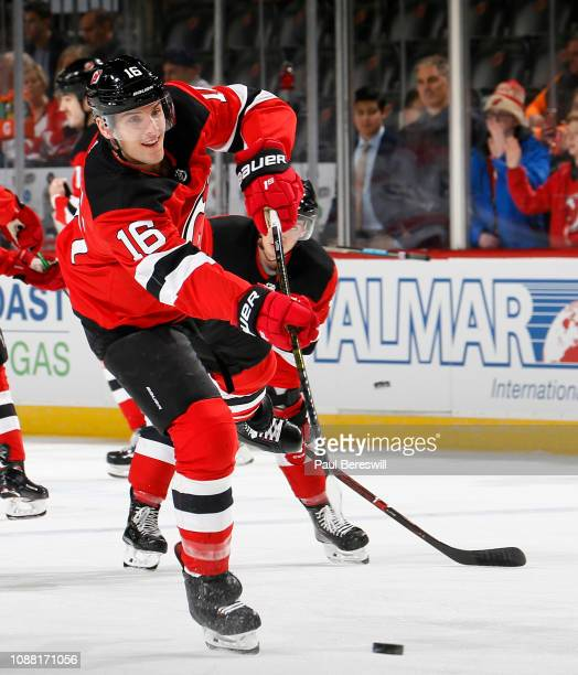 Steven Santini of the New Jersey Devils shoots during warmups before an NHL hockey game against the Carolina Hurricanes on December 29 2018 at the...