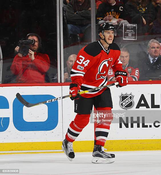 Steven Santini of the New Jersey Devils skates against the Boston Bruins at the Prudential Center on January 2 2017 in Newark New Jersey The Devils...