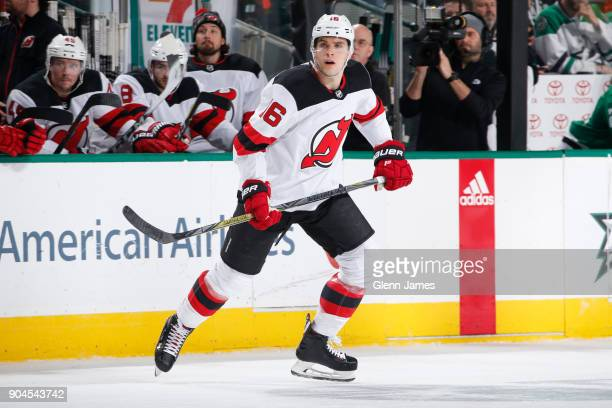 Steven Santini of the New Jersey Devils skates against the Dallas Stars at the American Airlines Center on January 4 2018 in Dallas Texas