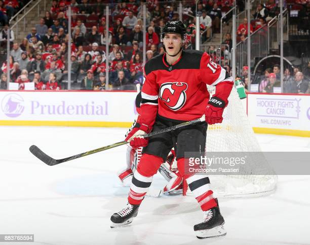 Steven Santini of the New Jersey Devils skates during the third period against the Vancouver Canucks on November 24 2017 at the Prudential Center in...