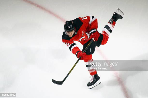 Steven Santini of the New Jersey Devils skates in warmups prior to the game against the New York Rangers at the Prudential Center on December 21 2017...