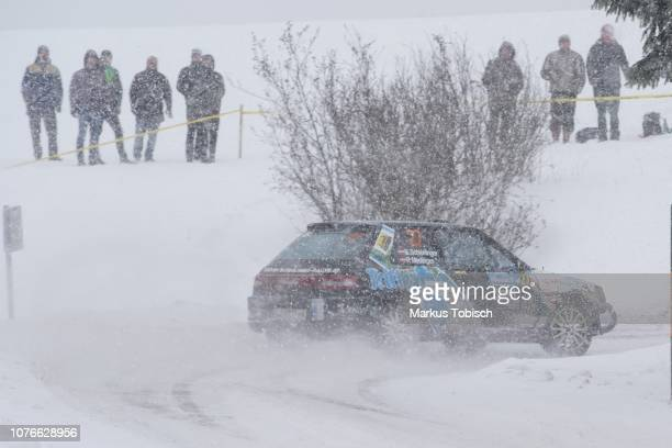 Steven Schierlinger of Austria and Peter Medinger of Austria in their Mazda 323GTR 4WD during the Jaenner Rallye at Freistadt on January 3 2019 in...