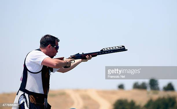 Steven Scott of Great Britain shoots in Men's Double Trap Shooting qualification during day seven of the Baku 2015 European Games at the Baku...