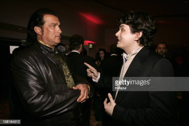 Steven Seagal and John Mayer during Clive Davis' 2005 PreGRAMMY Awards Party Dinner and Show at Beverly Hills Hotel in Beverly Hills California...