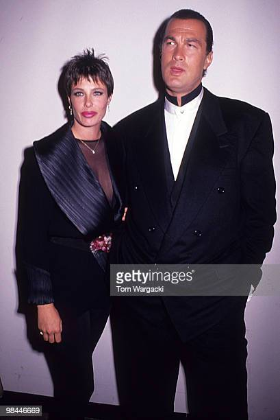 Steven Seagal and Kelly LeBrock at film premiere of Out for Justice