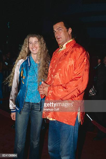 Steven Seagal and wife Adrienne La Russa arrives at the Hard Rock Cafe at CityWalk at Universal Studios Hollywood for a Charity Jam