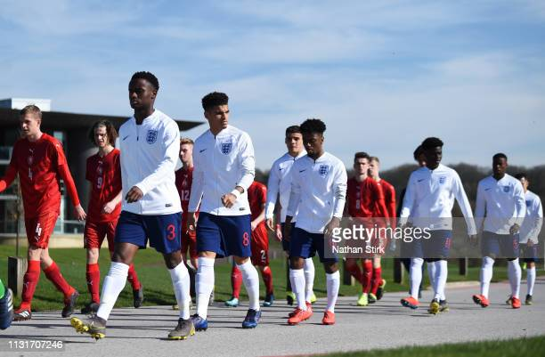 Steven Sessegnon and Morgan GibbsWhite of England makes their way to the pitch during the UEFA U19 Championship Qualifier match between England U19...