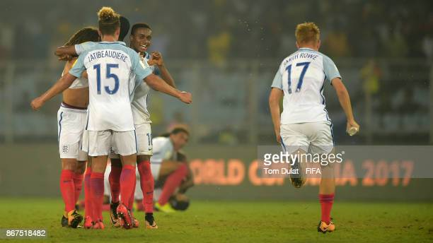 Steven Sessegnon of England celebrates won match against Spain after the FIFA U17 World Cup India 2017 Final match between England and Spain at...