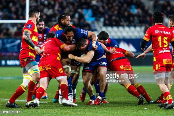 Steven SETEPHANO of Grenoble and Enzo FORLETTA of Perpignan during the Pro D2 match between Grenoble and Perpignan at Stade des Alpes on February 13,...