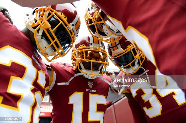 Steven Sims of the Washington Redskins huddles with teammates prior to the game against the New York Jets at FedExField on November 17 2019 in...