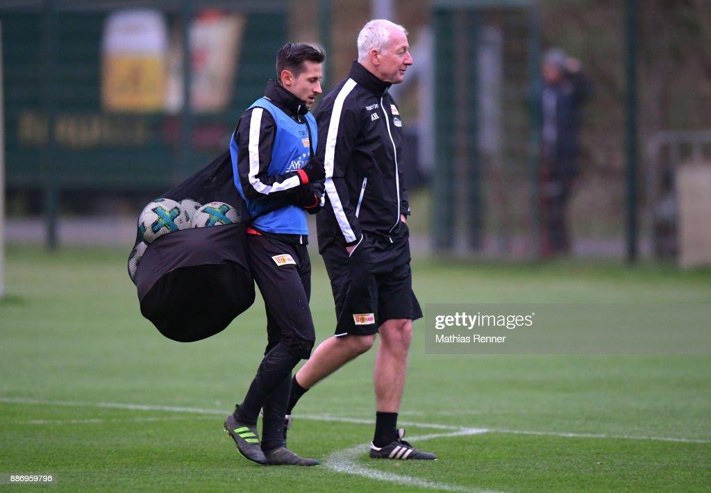 Steven Skrzybski and Coach Andre Hofschneider of Union Berlin after dem Training on december 6, 2017 in Berlin, Germany.