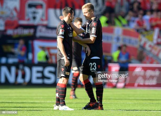 Steven Skrzybski and Felix Kroos of 1 FC Union Berlin during the game between Jahn Regensburg and Union Berlin on october 15 2017 in Regensburg...