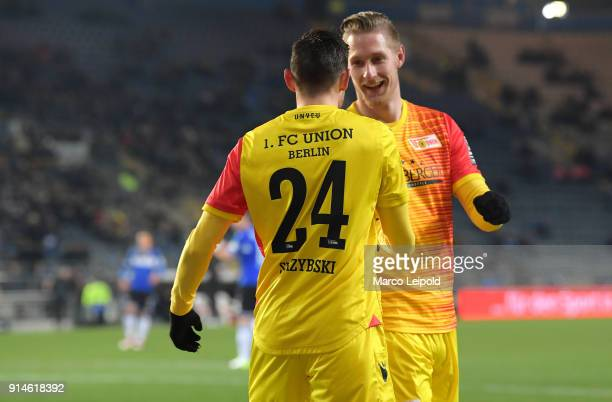 Steven Skrzybski and Sebastian Polter of 1FC Union Berlin celebrate after scoring the 01 during the Second Bundesliga match between DSC Arminia...