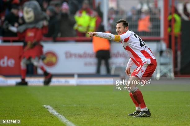Steven Skrzybski of 1 FC Union Berlin celebrates after scoring the 31 during the second Bundesliga game between Union Berlin and Fortuna Duesseldorf...