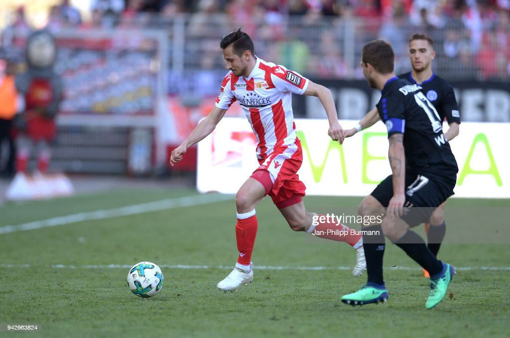 Steven Skrzybski of 1 FC Union Berlin during the 2nd Bundesliga game between Union Berlin and MSV Duisburg at Stadion an der alten Foersterei on April 7, 2018 in Berlin, Germany.