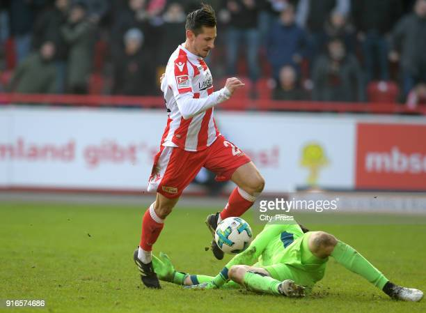 Steven Skrzybski of 1 FC Union Berlin goals to 31 during the second Bundesliga game between Union Berlin and Fortuna Duesseldorf at Stadion an der...