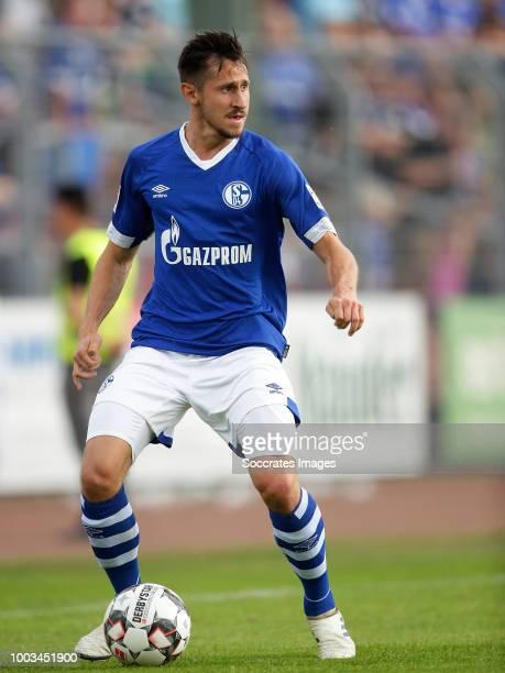 Steven Skrzybski of Schalke 04 during the Club Friendly match between Schalke 04 v Schwarz Weiss Essen at the Uhlenkrugstadion on July 21 2018 in...