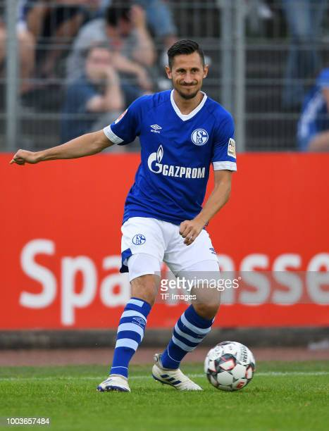 Steven Skrzybski of Schalke controls the ball during the Friendly match between Schwarz Weiss Essen and FC Schalke 04 on July 21 2018 in Essen Germany