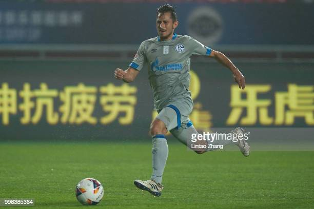Steven Skrzybski of Schalke in action during the 2018 Clubs Super Cup match between FC Schalke 04 and China Fortune at Langfang Sports Center on July...