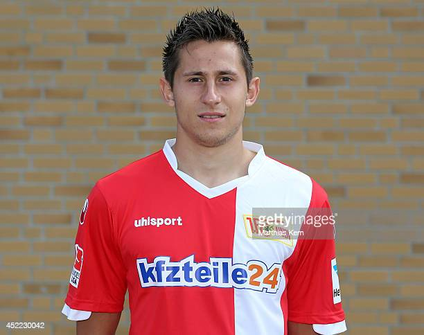 Steven Skrzybski poses during the 1FC Union Berlin team presentation at Stadion an der Alten Foersterei on July 16 2014 in Berlin Germany