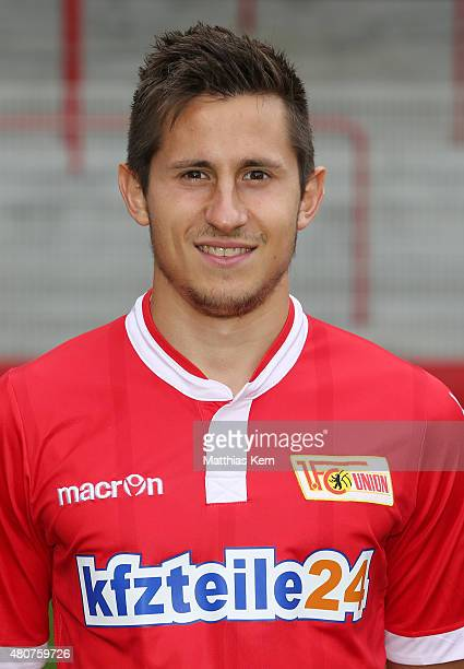 Steven Skrzybski poses during the offical team presentation of 1FC Union Berlin at Stadion an der Alten Foersterei on July 15 2015 in Berlin Germany