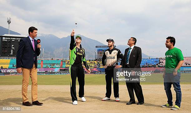 Steven Smith Captain of Australia and Kane Williamson Captain of New Zealand pictured during the coin toss ahead of the ICC World Twenty20 India 2016...