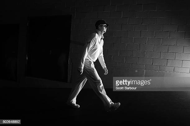 Steven Smith captain of Australia leads his side onto the field during day three of the Second Test match between Australia and the West Indies at...