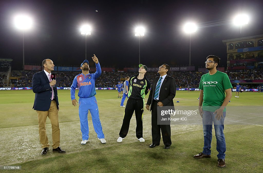 Steven Smith Captain of Australia looks on as MS Dhoni Captain of India toss the coin during the ICC World Twenty20 India 2016 Super 10s Group 2...