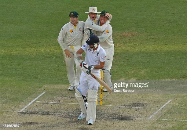 Steven Smith Michael Clarke and Brad Haddin celebrate as last man out James Anderson of England is dismissed during day four of the First Ashes Test...