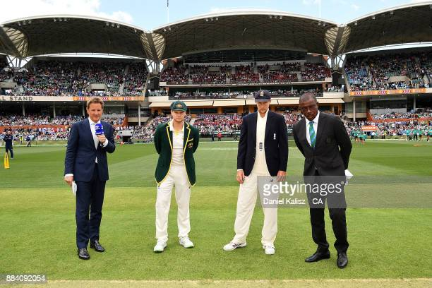 Steven Smith of Australia and Joe Root of England are pictured during the coin toss during day one of the Second Test match during the 2017/18 Ashes...