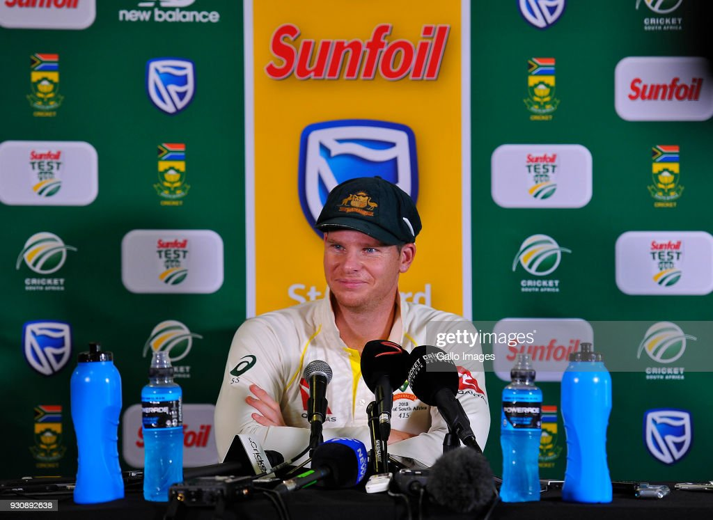Steven Smith (capt) of Australia at the post press conference after day 4 of the 2nd Sunfoil Test match between South Africa and Australia at St Georges Park on March 12, 2018 in Port Elizabeth, South Africa.
