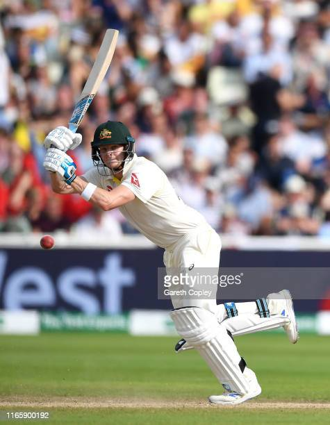 Steven Smith of Australia bats during day three of the 1st Specsavers Ashes Test between England and Australia at Edgbaston on August 03, 2019 in...