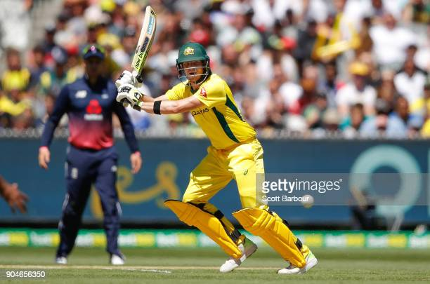 Steven Smith of Australia bats during game one of the One Day International Series between Australia and England at Melbourne Cricket Ground on...