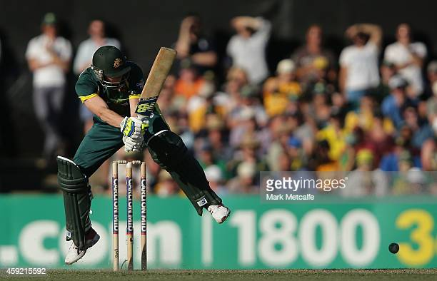 Steven Smith of Australia bats during game three of the One Day International Series between Australia and South Africa at Manuka Oval on November 19...
