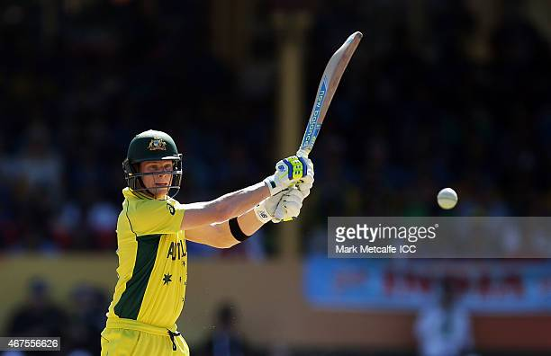 Steven Smith of Australia bats during the 2015 Cricket World Cup Semi Final match between Australia and India at Sydney Cricket Ground on March 26...