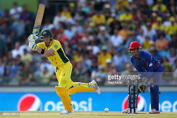 Steven Smith of Australia bats during the 2015 ICC Cricket World Cup match between Australia and Afghanistan at WACA on March 4, 2015 in Perth,...