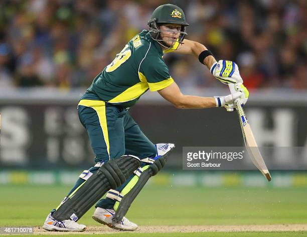 Steven Smith of Australia bats during the One Day International match between Australia and India at the Melbourne Cricket Ground on January 18 2015...