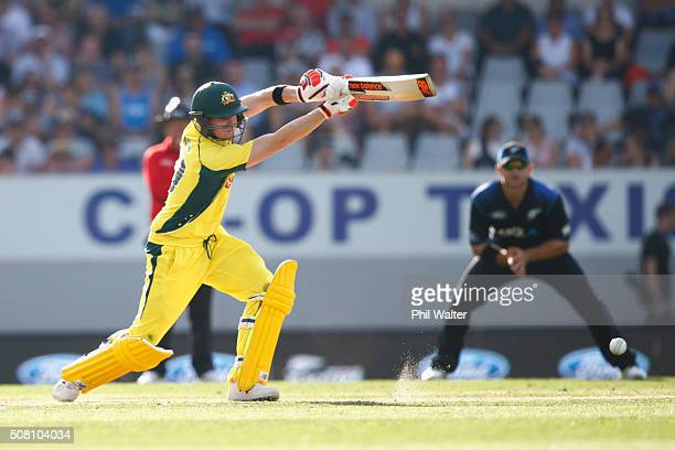 Steven Smith of Australia bats during the One Day International match between New Zealand and Australia at Eden Park on February 3 2016 in Auckland...