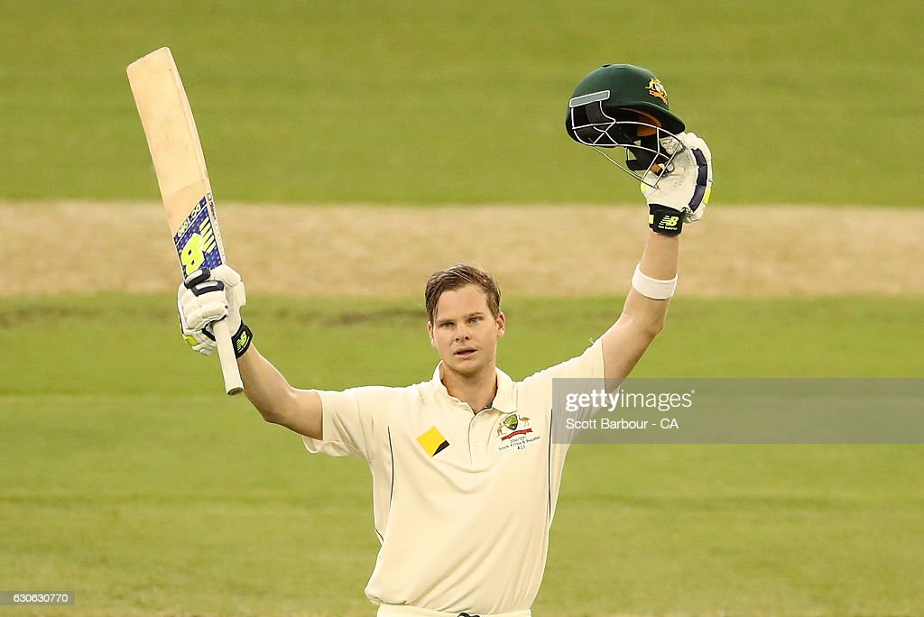 Steven Smith of Australia celebrates as he reaches his century during day four of the Second Test match between Australia and Pakistan at Melbourne Cricket Ground on December 29, 2016 in Melbourne, Australia.